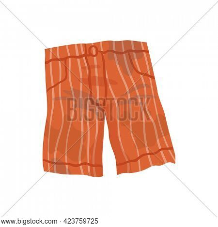 Dirty clothes. Grease stained shorts. Laundry mud stains on garments. Unclean shorts. Symbol of mess. Apparel with stains