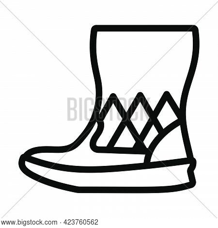 Woman Fluffy Boot Icon. Bold Outline Design With Editable Stroke Width. Vector Illustration.