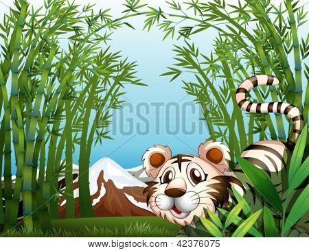 Abbildung eines Tigers in einem Bambus-Wald