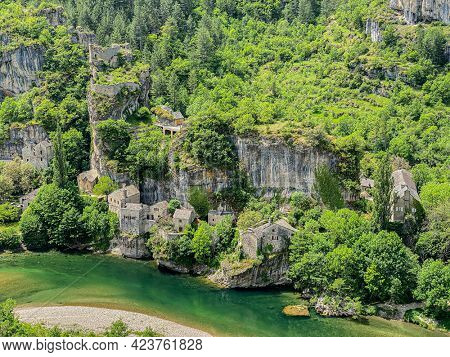 Small french village of Castelbouc in the Gorges du Tarn in France
