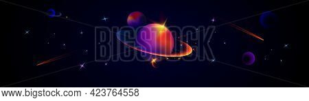 Wide Illustration Of Space. Space Background With Planets And Stars. Space Exploration. Gradient Flu