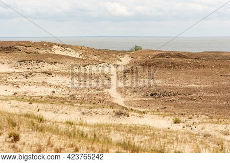 Panoramic View Of Sand Dunes In Nida, Klaipeda, Lithuania, Europe. Curonian Spit And Curonian Lagoon