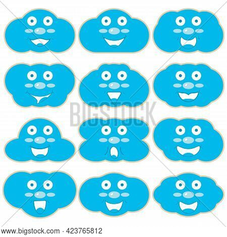 A Set Of Wooden Kids Toy Layouts With Print In The Shape Of Blue Clouds With Faces And Smiles. Vecto