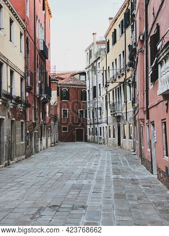 Small square in Venice without any people during italian lockdown crisis COVID-19, Italy