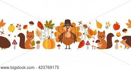 Thanksgiving Seamless Pattern Border. Fall Leaves, Squirrel, Hedgehog, Acorns, Berries, Turkey In A