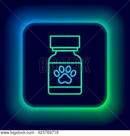 Glowing Neon Line Medicine Bottle And Pills Icon Isolated On Black Background. Container With Pills.
