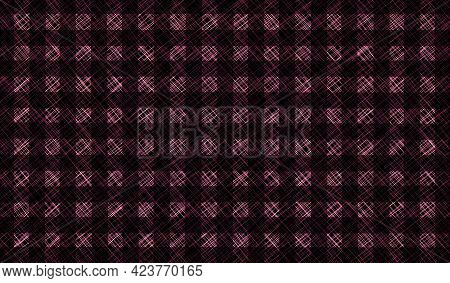 Black Pink Brown Vintage Checkered Background. Space For Graphic Design. Checkered Texture. Classic