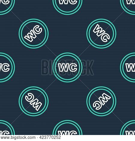 Line Toilet Icon Isolated Seamless Pattern On Black Background. Wc Sign. Washroom. Vector