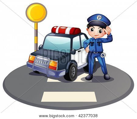 Illustration of a patrol car and the policeman near the traffic light on a white background