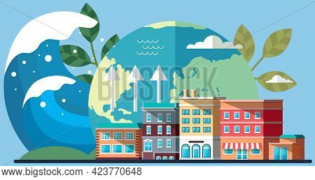 Climate Change On Planet. Cityscape With Houses On Background Of Globe. Visualization Weather And Hu