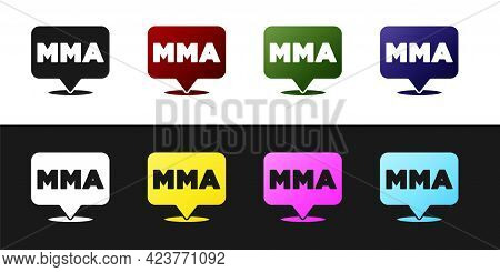 Set Fight Club Mma Icon Isolated On Black And White Background. Mixed Martial Arts. Vector