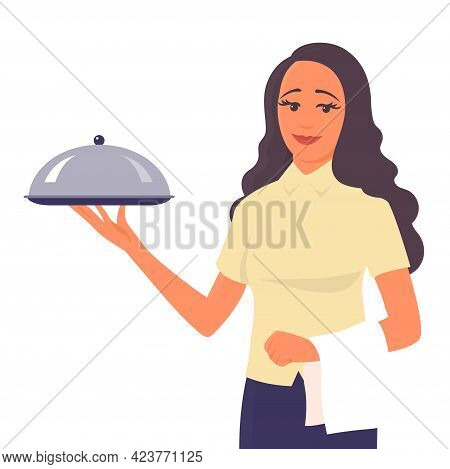A Beautiful Girl Waiter Stands With A Tray In His Hand. There Is A Smile On My Face. Concept For Res
