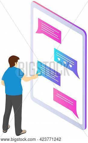 Male Character Uses Smartphone To Chat, Modern Life Style, Easy Message Application. Man Is Chatting