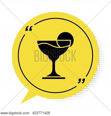 Black Margarita Cocktail Glass With Lime Icon Isolated On White Background. Yellow Speech Bubble Sym