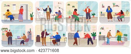 Business Meeting Or Working Process In Head Office Scenes Set. Project Management And Teamwork Conce