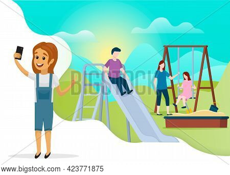 Girl Is Smiling And Taking Selfie Outdoor. Child Is Photographed On Phone Camera. Kid With Smartphon