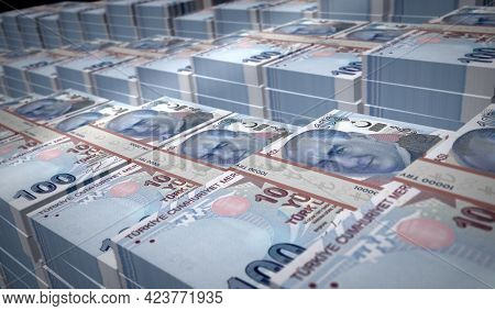 Turkish Lira Money Banknotes Pack Illustration