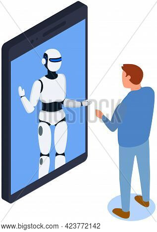 Businessman Talks To Robot In Smartphone Chat. Male Character Having Consultation With Robot. Chatti