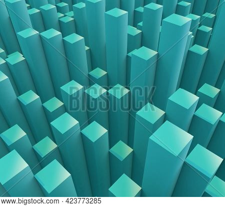 3D render of an abstract background with extruding cubes