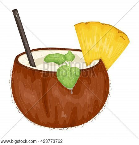 Vector Illustration Of A Cocktail Made From A Half Of A Broken Coconut. Coconut Water Or Milk With S