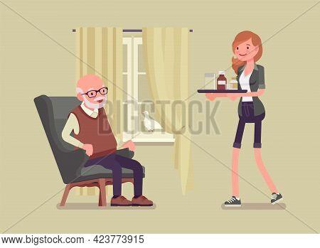 Caregiving Elderly People, Young Woman Helping Senior Man At Home. Older Adult Care, Volunteer Nursi