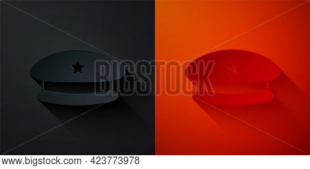 Paper Cut Military Beret Icon Isolated On Black And Red Background. Soldiers Cap. Army Hat. War Bare