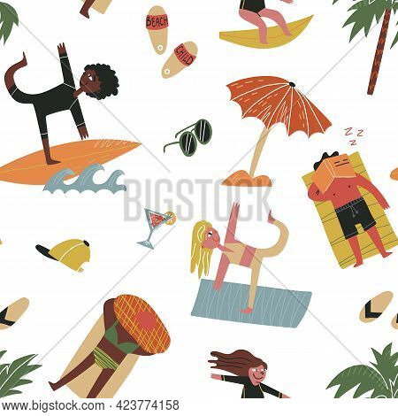 Beach Pastime Seamless Pattern For Textile, Fabric Print, Wrapping Paper Etc. People Doing Yoga, Sur