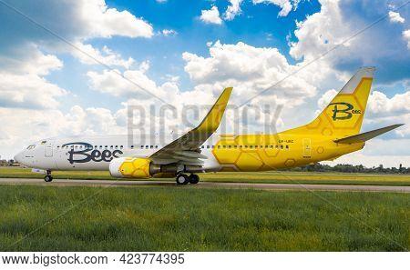Kyiv, Ukraine - June 12, 2021: Passenger Plane Boeing 737 Ng Max - Msn 29654. Bees Airline Ur-ubc. A