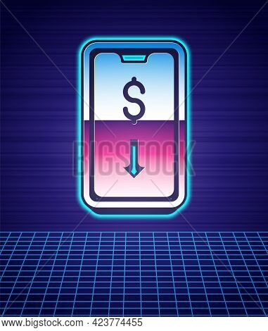 Retro Style Mobile Stock Trading Concept Icon Isolated Futuristic Landscape Background. Online Tradi