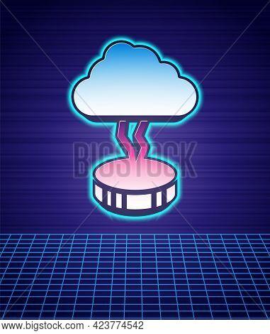 Retro Style Storm Icon Isolated Futuristic Landscape Background. Cloud And Lightning Sign. Weather I