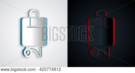 Paper Cut Suitcase For Travel Icon Isolated On Grey And Black Background. Traveling Baggage Sign. Tr