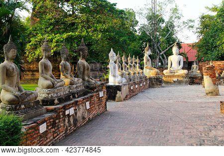 Buddha Statue And Archaeological Site., Ayutthaya Ruins., Unesco World Heritage. Ancient Archaeologi