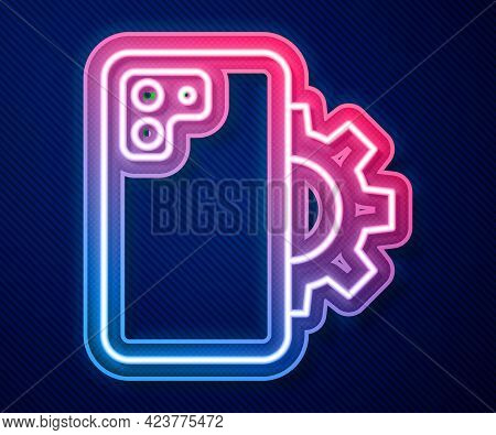 Glowing Neon Line Phone Repair Service Icon Isolated On Blue Background. Adjusting, Service, Setting