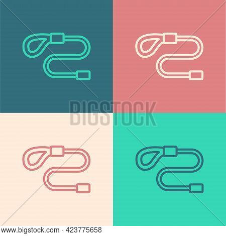 Pop Art Line Retractable Cord Leash With Carabiner Icon Isolated On Color Background. Pet Dog Lead.