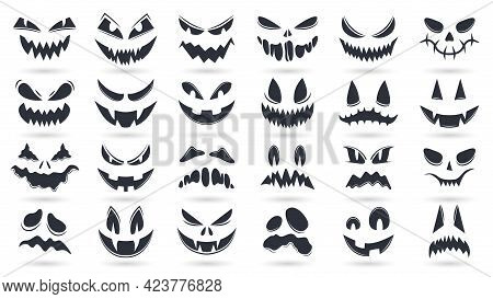 Halloween Pumpkins Faces. Spooky Ghost Emoticons Faces Isolated Vector Illustration Set. Scary Pumpk