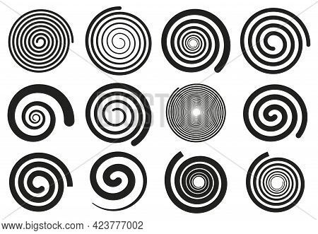 Abstract Spirals. Vortex Swirl Motion Elements, Simple Rotating Spirals Silhouettes Isolated Vector