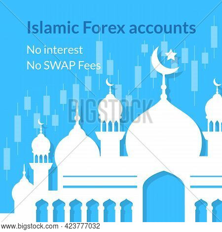 Islamic Forex Accounts Background With Mosque And Chart