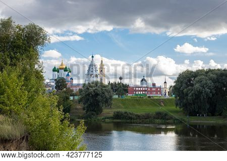 View On Various Temples And Belltower On Assumption Cathedral Square Under Blue Sky With Dramatic Cl