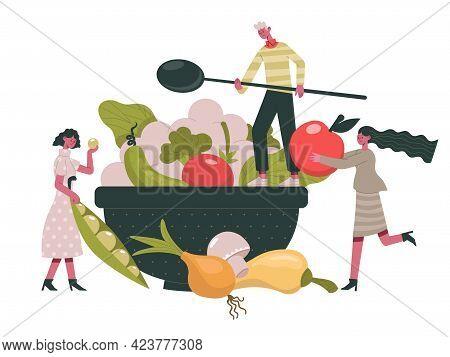 Vegetarian Food. People Cook Healthy Organic Diet Food, Greens And Vegetables Healthy Ingredients Ca