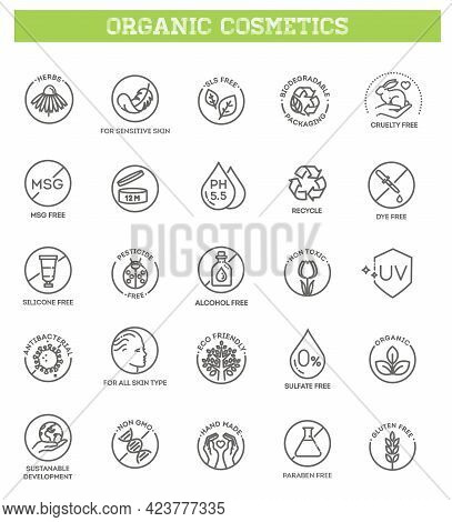 Collection Of Linear Symbols Or Badges For Natural Eco Friendly Handmade Products, Organic Cosmetics