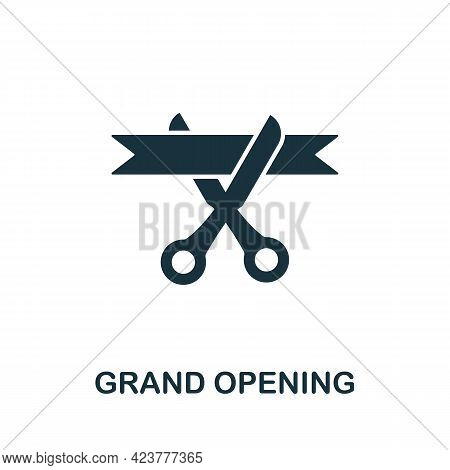Grand Opening Icon. Simple Creative Element. Filled Monochrome Grand Opening Icon For Templates, Inf