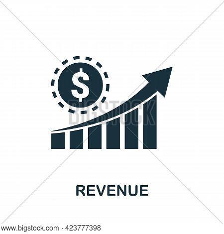 Revenue Icon. Simple Creative Element. Filled Monochrome Revenue Icon For Templates, Infographics An