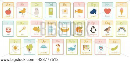 Alphabet Kids Cards. Kindergarten Abc Learning, Children Education Animals, Fruits And Toys Cards Ve