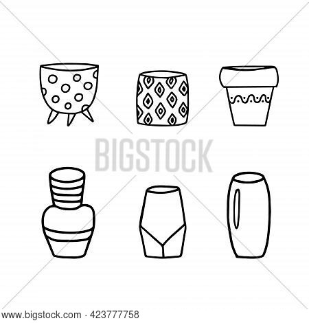 Set Of Flower Pots And Vases, Interior Objects Outline Vector Sketch. Collection Of Hand Drawn Vinta