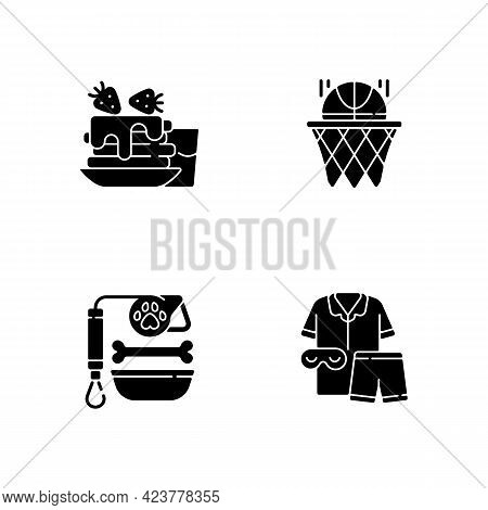 Daily Student Routine Black Glyph Icons Set On White Space. Breakfast Pancakes. Basketball Club. Pet