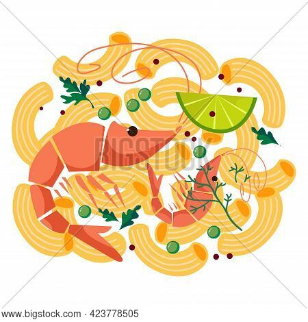 Image Of Noodles With Shrimps. Mediterranean Food. Vector Illustration Fun
