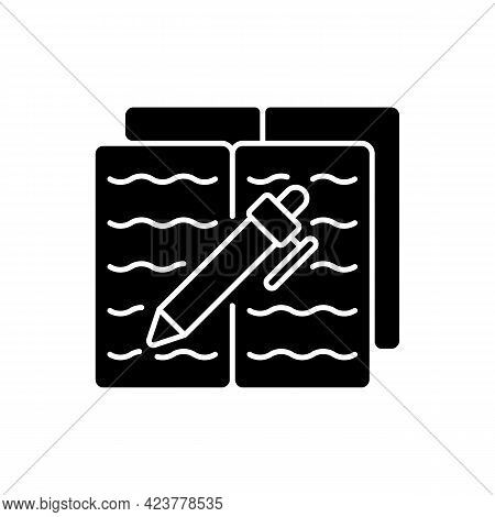 Homework Black Glyph Icon. Textbook With Text And Pen For Writing. Notebook With School Report. Ever
