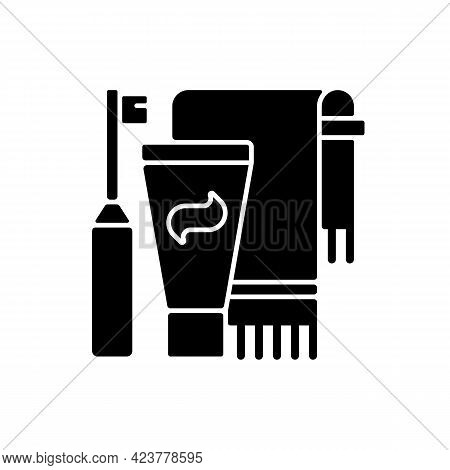 Brushing Teeth Black Glyph Icon. Toothpaste And Paste In Bathroom. Towel For Personal Cleanliness An