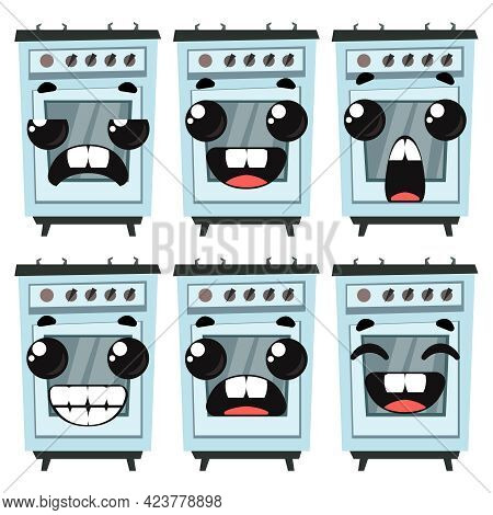 Set Of Cookers With Different Emotions. Cute Color Bright Picture. Vector Illustration In Cartoon St