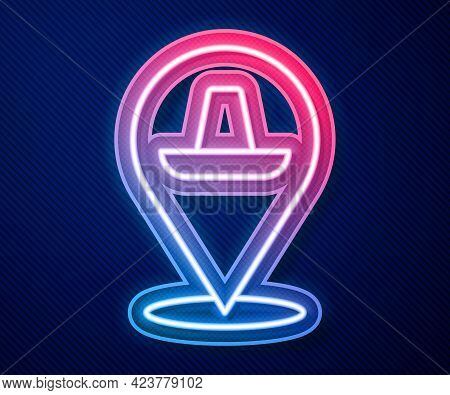 Glowing Neon Line Traditional Mexican Sombrero Hat Icon Isolated On Blue Background. Vector